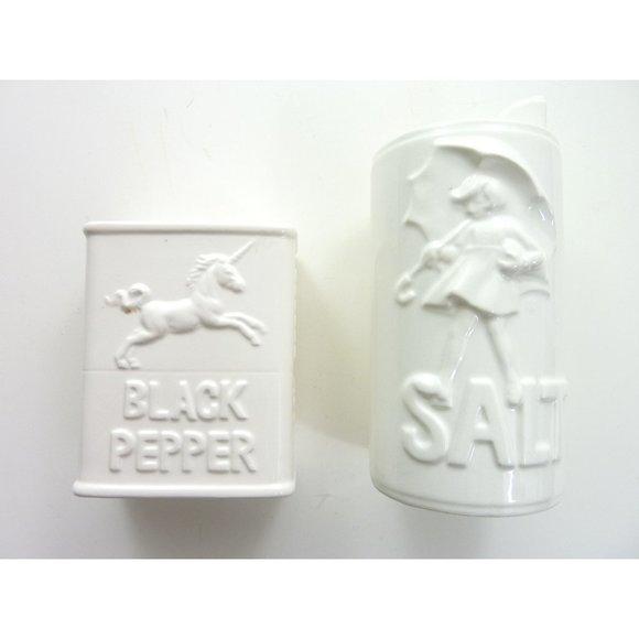 White Morton Salt Pepper Ceramic Shakers
